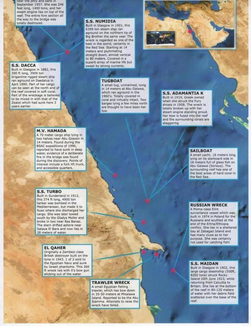 Egyptian Red Sea Southern Wrecks - Map of egypt red sea area